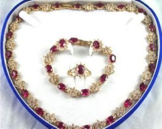 Genuine Jewelry red crystal necklace bracelet earring ring Set