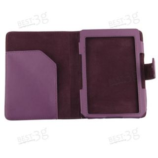 Leather Case Cover LED Reading Book Light Stylus Pen for Kindle 4