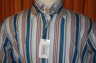 David Saddler Long Sleeve Blue Brown Tan Cotton Stripe Button Down