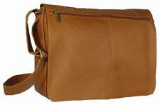 David King Leather Messenger Bag Briefcase Tan