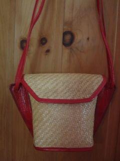 Vintage 1980s David P Bloom Golden Straw with Red Leather Shoulder Bag