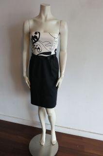 David Meister Strapless Dress sz2 Lined Black White