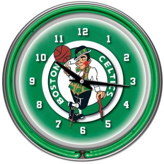 since 1999 boston celtics nba chrome double ring neon clock