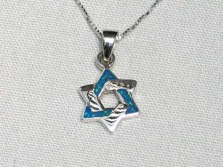Star of David Blue Opal Pendant Necklace & 925 Silver Magen Israel