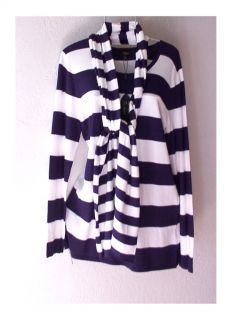 New $68 Long Navy Blue White Stripe Knit Sweater Scarf Top Set 8 10 M