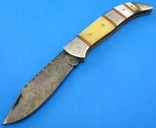 Custom Made Damascus Steel Folding Blade Jack Knife Bone Mother of