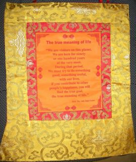 Tibet Scroll True Meaning of Life Dalai Lama HHDL Gold