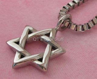 Jewish Star of David Stainless Steel Pendant 22 Box Chain Necklace
