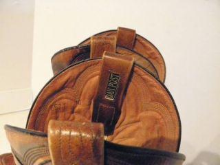 Vintage 70s Custom Dan Post Hand Tooled Leather Cowboy Boots 10 D