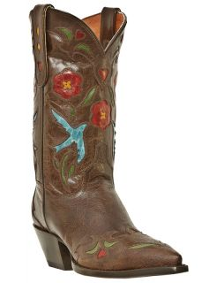 Womens Cowboy Boots Dan Post Blue Bird Medium B M Snip Toe Brown