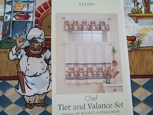 FAT CHEF Kitchen Curtains ~ Window Tiers and Valance Set New