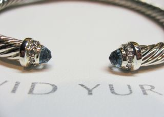 David Yurman 5mm Blue Topaz Diamond Cable Bracelet