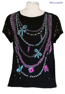 New Abbey Dawn Avril Lavigne Black Lace Charmed Tee Top T Shirt 12 20