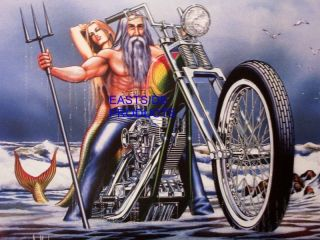 51 MOTORCYCLE ART CHOPPER DAVID MANN NEPTUNES RIDE EASYRIDERS BIKER