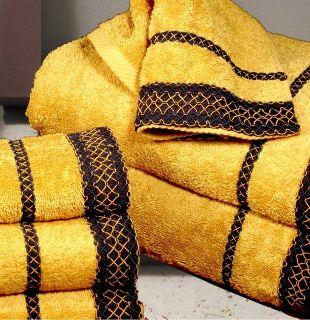 Armani International Gold Bath and Beach Towel Set 3 Pcs in Yellow