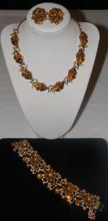 Vintage Signed ROUSSEAU Parure Citrine Rhinestone Necklace Bracelet