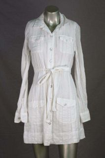 Dallin Chase Ladder Lace Voile L s White Shirt Dress S