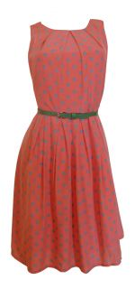 Coral Green Polka Dot Print Day Dress Stockard Size 12 New