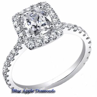 50 Carat Cushion Cut Brilliant Diamond Hallo Engagement 18K Ring E F