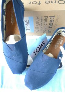 Authentic Toms Shoes Classic Navy Blue Mens Men Mens Canvas Brand New
