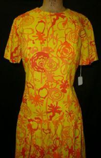FUN ORIG VTG 60s 70s MOD HIPPIE POP ART GRAPHIC PRINT DRESS NOS W TAGS