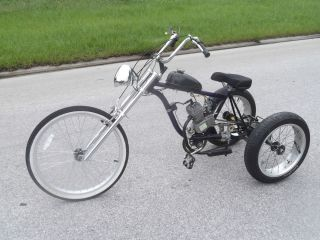 Custom Motorized Trike with Stingray Wheels Extended Front Three Wheel