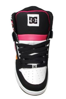 DC Shoes Womens Sneakers Rebound Hi Le Black White Orange 303400 Sz 6