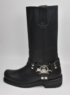 Harley Davidson Boots Iroquois Skull Badge Black Leather Boots Men