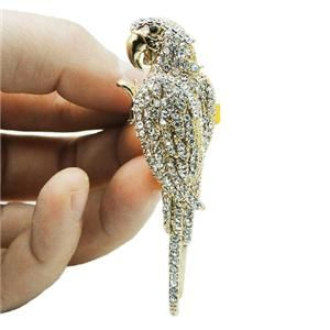 Cute Bird Parrot Cocktail Ring Sz Free Clear Swarovski Crystal Animal