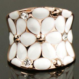 Cute Gold GP Swarovski Crystal Enamel Rose Cocktail Ring 323
