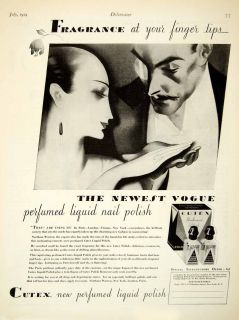 artist on sale vintage art 1929 ad cutex nail polish remover art deco