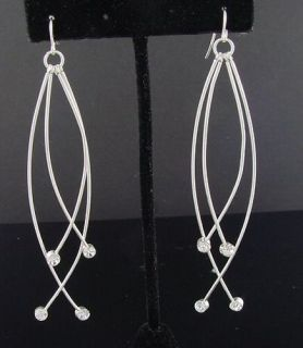 Cascading Crystal Sterling Silver Plate Dangle Earrings