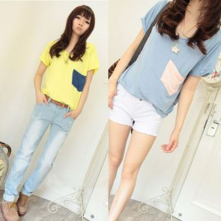 Hot Korean Women Casual Shirt Cute Big Pocket Blouse Short Sleeve U