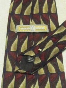 ZINC Mens Designer Neck Tie SILK Geometric Burgundy/Tan/Gray/Black EUC