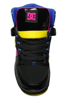 DC Shoes Womens Sneakers Rebound Hi Le Black Crazy Pink Yellow 303400