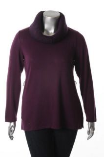 Debbie Morgan Purple Stretch Ribbed Cowl Neck Long Sleeve Tunic