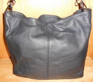 Deborah Gallo Made in Italy Womens Black Leather Tote Handbag Purse