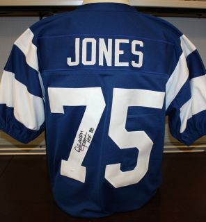 Deacon Jones Autographed Los Angeles Rams Blue TB Jersey Authenticated
