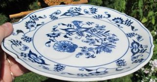 Vintage Blue Danube Blue White Luncheon Plate w Cup Holder Handle