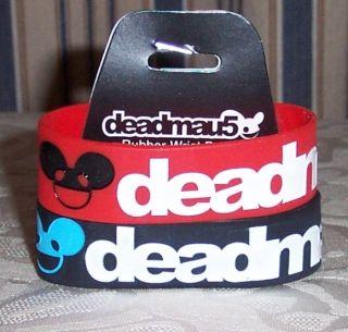 Deadmau5 Logo Red Black 2 Pack Rubber Wristbands Bracelets Deadmouse