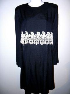 JEFFREY DARA WOMENS LADIES BLACK WHITE LONG SLEEVE FALL WINTER DRESS