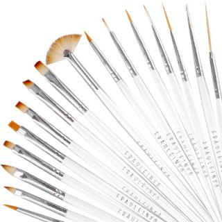 3º8® Set de 16 Pinceles con Mango Blanco para Pintar/Decorar Uñas