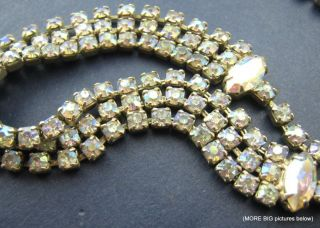 SIGNED WEISS old Pink Aurora Borealis Rhinestone Gold tone DAIN