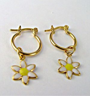 Gold 18K GF Earrings Hoop Daisy Flower White Yellow Enamel Kids Girl