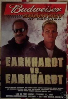 2001 Dale Earnhardt vs Jr 8 Budweiser Shootout Poster