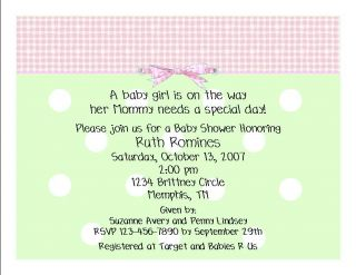 Personalized Baby Shower Invitations 5x7 Baby Girl