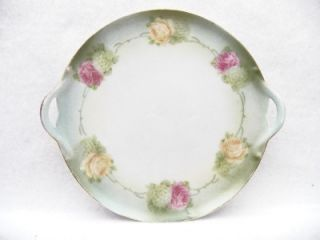 RS Germany Dainty Little Plate w Side Handles Pink Yellow Rose