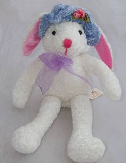 Dan Dee Plush White Bunny Rabbit Purple Easter Hat Pink