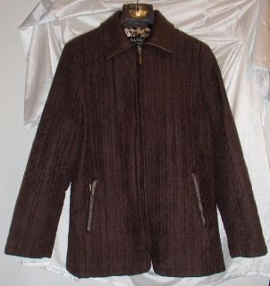 Dana Buchman Dark Brown Stitched Faux Suede Leather Jacket Coat Womens