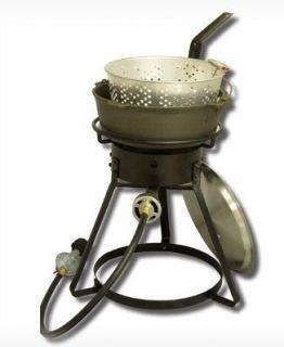 PROPANE FRYER CAST IRON POT STOVE DEEP OIL FISH FRYER BURNER COOKING